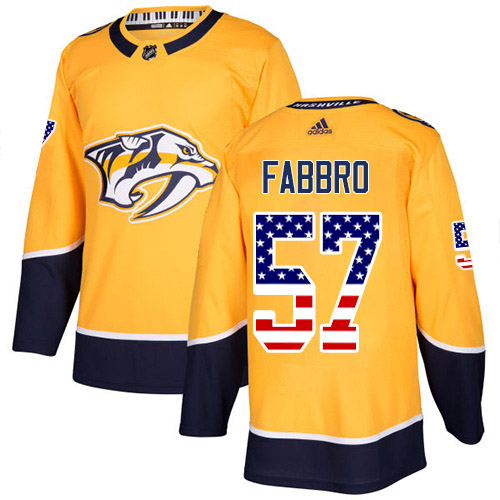 Adidas Predators #57 Dante Fabbro Yellow Home Authentic USA Flag Stitched Youth NHL Jersey