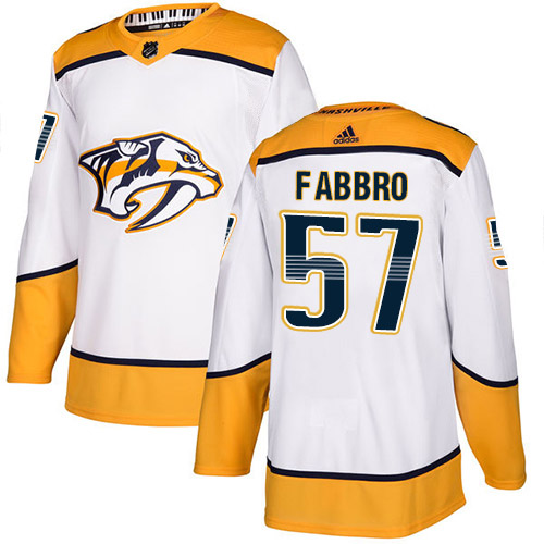 Adidas Predators #57 Dante Fabbro White Road Authentic Stitched Youth NHL Jersey