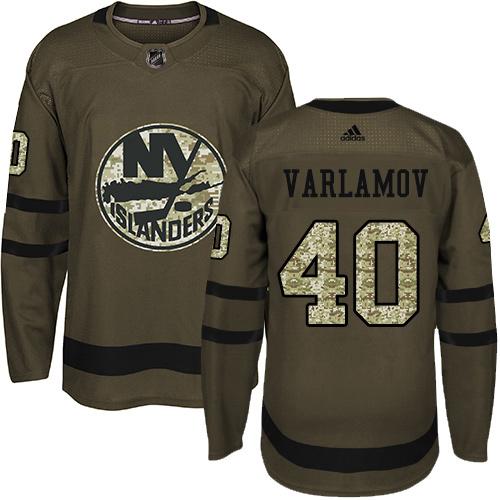 Adidas Islanders #40 Semyon Varlamov Green Salute to Service Stitched Youth NHL Jersey