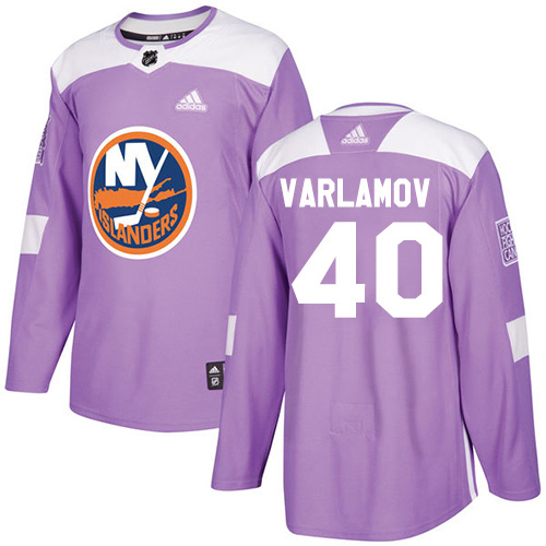 Adidas Islanders #40 Semyon Varlamov Purple Authentic Fights Cancer Stitched Youth NHL Jersey