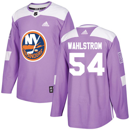 Adidas Islanders #54 Oliver Wahlstrom Purple Authentic Fights Cancer Stitched Youth NHL Jersey
