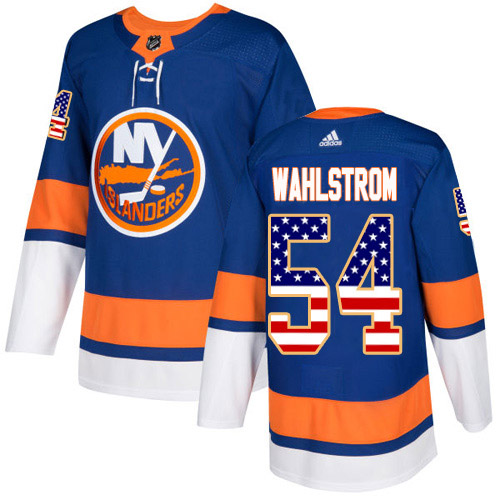 Adidas Islanders #54 Oliver Wahlstrom Royal Blue Home Authentic USA Flag Stitched Youth NHL Jersey