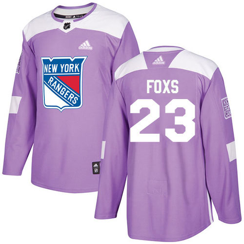 Adidas Rangers #23 Adam Foxs Purple Authentic Fights Cancer Stitched Youth NHL Jersey