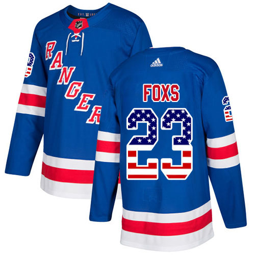 Adidas Rangers #23 Adam Foxs Royal Blue Home Authentic USA Flag Stitched Youth NHL Jersey