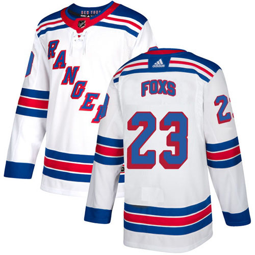 Adidas Rangers #23 Adam Foxs White Road Authentic Stitched Youth NHL Jersey