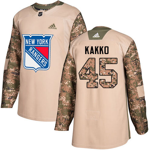 Adidas Rangers #45 Kappo Kakko Camo Authentic 2017 Veterans Day Stitched Youth NHL Jersey