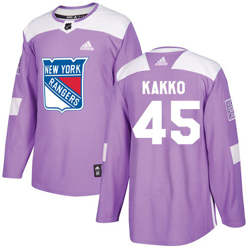 Adidas Rangers #45 Kappo Kakko Purple Authentic Fights Cancer Stitched Youth NHL Jersey