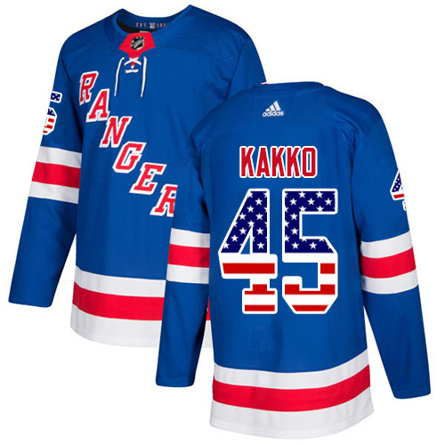 Adidas Rangers #45 Kappo Kakko Royal Blue Home Authentic USA Flag Stitched Youth NHL Jersey