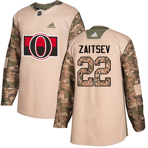 Adidas Senators #22 Nikita Zaitsev Camo Authentic 2017 Veterans Day Stitched Youth NHL Jersey