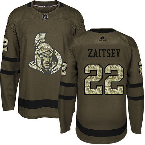 Adidas Senators #22 Nikita Zaitsev Green Salute to Service Stitched Youth NHL Jersey