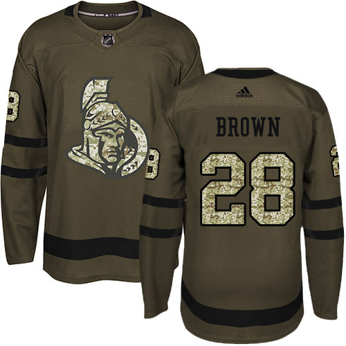 Adidas Senators #28 Connor Brown Green Salute to Service Stitched Youth NHL Jersey