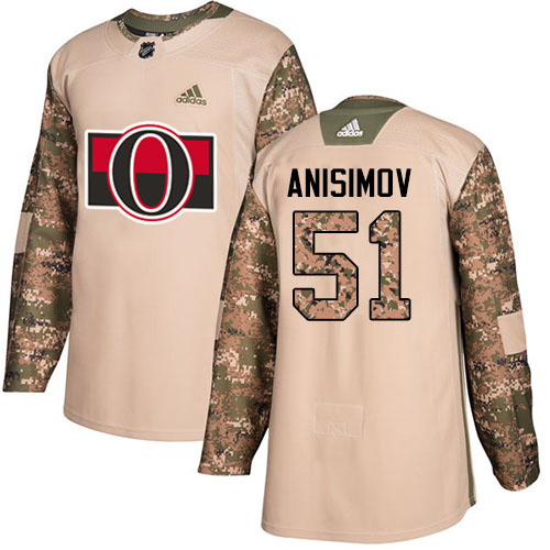 Adidas Senators #51 Artem Anisimov Camo Authentic 2017 Veterans Day Stitched Youth NHL Jersey