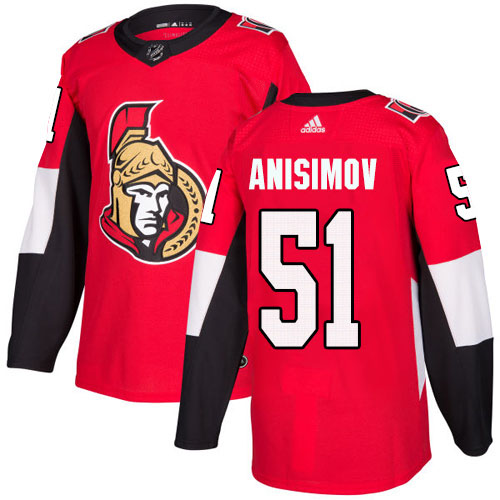 Adidas Senators #51 Artem Anisimov Red Home Authentic Stitched Youth NHL Jersey