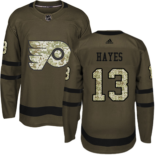Adidas Flyers #13 Kevin Hayes Green Salute to Service Stitched Youth NHL Jersey