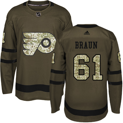 Adidas Flyers #61 Justin Braun Green Salute to Service Stitched Youth NHL Jersey
