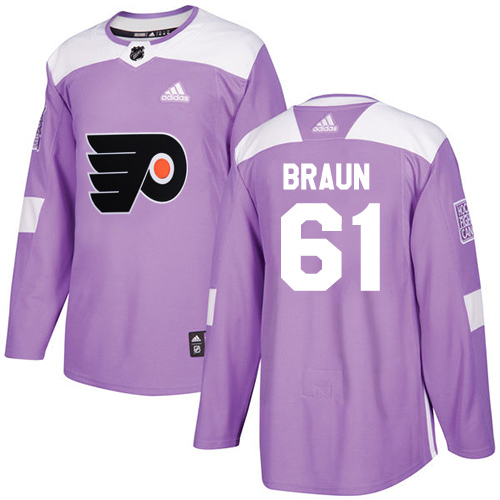 Adidas Flyers #61 Justin Braun Purple Authentic Fights Cancer Stitched Youth NHL Jersey