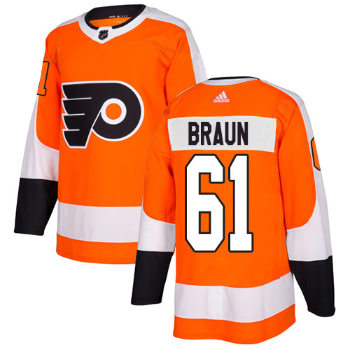 Adidas Flyers #61 Justin Braun Orange Home Authentic Stitched Youth NHL Jersey