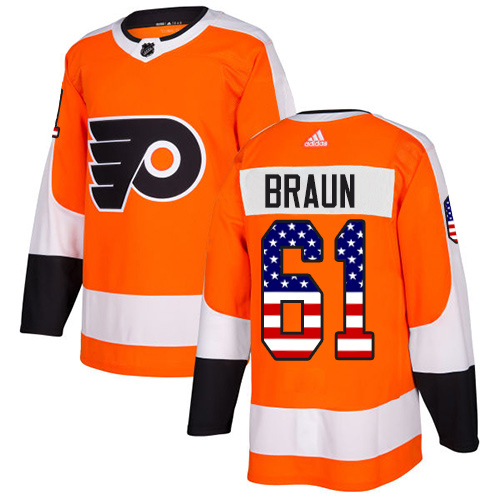 Adidas Flyers #61 Justin Braun Orange Home Authentic USA Flag Stitched Youth NHL Jersey