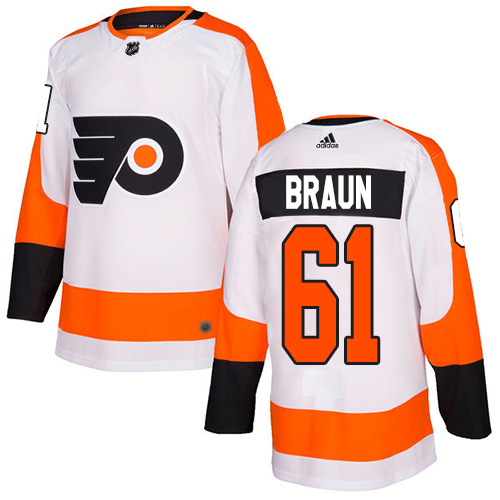 Adidas Flyers #61 Justin Braun White Road Authentic Stitched Youth NHL Jersey