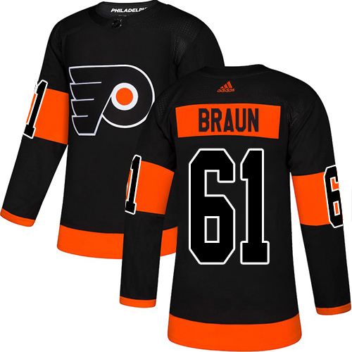 Adidas Flyers #61 Justin Braun Black Alternate Authentic Stitched Youth NHL Jersey