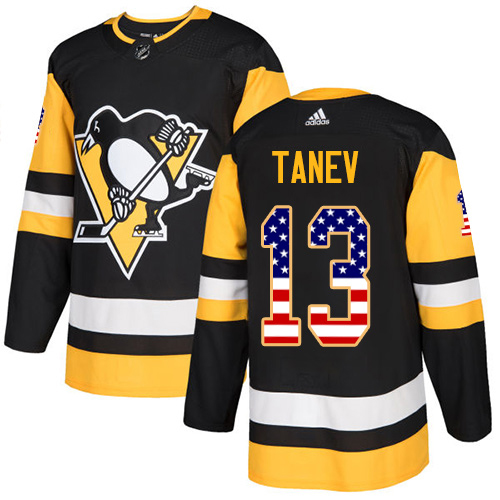 Adidas Penguins #13 Brandon Tanev Black Home Authentic USA Flag Stitched Youth NHL Jersey