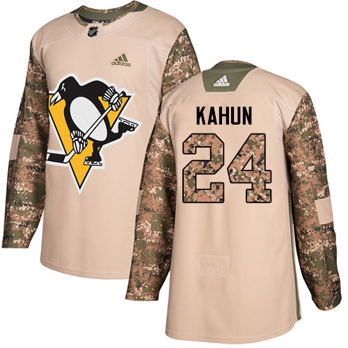 Adidas Penguins #24 Dominik Kahun Camo Authentic 2017 Veterans Day Stitched Youth NHL Jersey