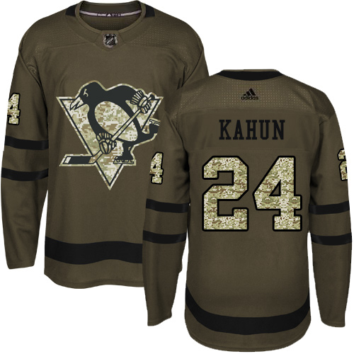 Adidas Penguins #24 Dominik Kahun Green Salute to Service Stitched Youth NHL Jersey