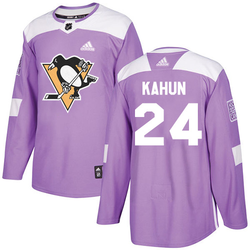 Adidas Penguins #24 Dominik Kahun Purple Authentic Fights Cancer Stitched Youth NHL Jersey