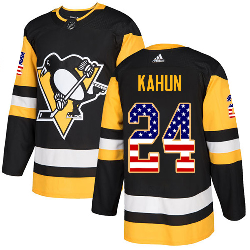 Adidas Penguins #24 Dominik Kahun Black Home Authentic USA Flag Stitched Youth NHL Jersey