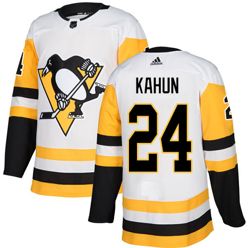 Adidas Penguins #24 Dominik Kahun White Road Authentic Stitched Youth NHL Jersey