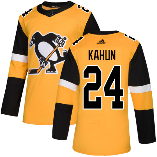 Adidas Penguins #24 Dominik Kahun Gold Alternate Authentic Stitched Youth NHL Jersey