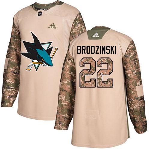 Adidas Sharks #22 Jonny Brodzinski Camo Authentic 2017 Veterans Day Stitched Youth NHL Jersey
