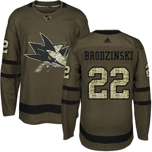 Adidas Sharks #22 Jonny Brodzinski Green Salute to Service Stitched Youth NHL Jersey