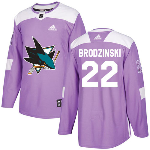 Adidas Sharks #22 Jonny Brodzinski Purple Authentic Fights Cancer Stitched Youth NHL Jersey