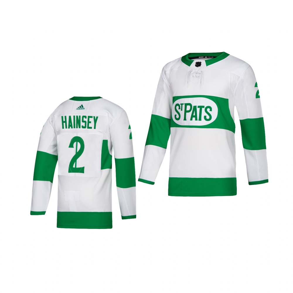 Adidas Maple Leafs #2 Ron Hainsey White 2019 St. Patrick's Day Authentic Player Stitched Youth NHL Jersey