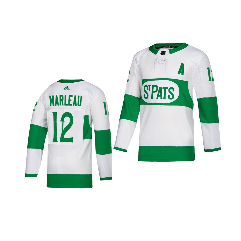Adidas Maple Leafs #12 Patrick Marleau White 2019 St. Patrick's Day Authentic Player Stitched Youth NHL Jersey