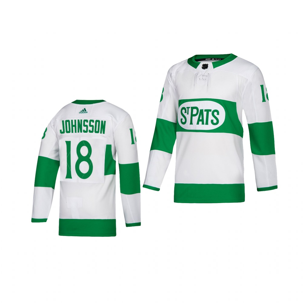 Adidas Maple Leafs #18 Andreas Johnsson White 2019 St. Patrick's Day Authentic Player Stitched Youth NHL Jersey
