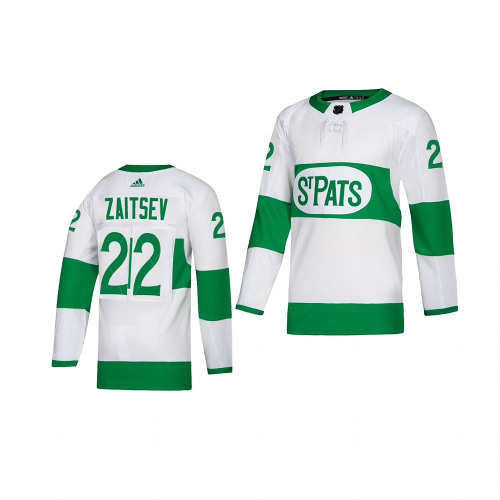 Adidas Maple Leafs #22 Nikita Zaitsev White 2019 St. Patrick's Day Authentic Player Stitched Youth NHL Jersey