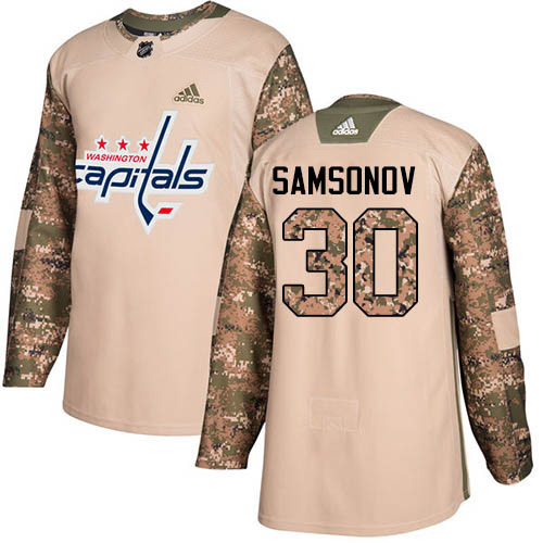 Adidas Capitals #30 Ilya Samsonov Camo Authentic 2017 Veterans Day Stitched Youth NHL Jersey