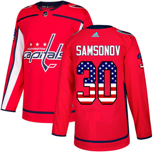 Adidas Capitals #30 Ilya Samsonov Red Home Authentic USA Flag Stitched Youth NHL Jersey