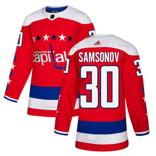 Adidas Capitals #30 Ilya Samsonov Red Alternate Authentic Stitched Youth NHL Jersey