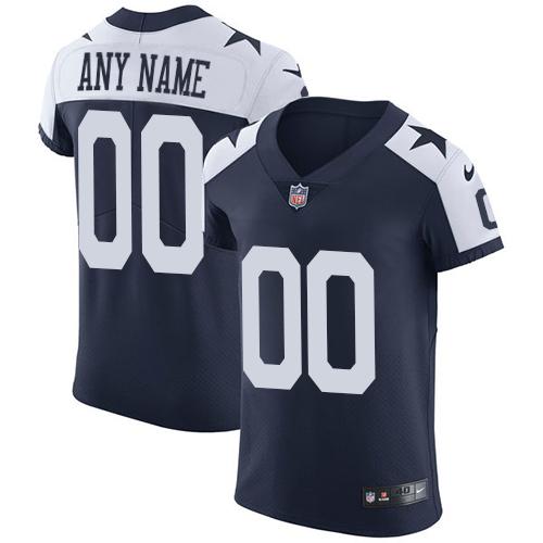Nike Dallas Cowboys Customized Navy Blue Thanksgiving Stitched Vapor Untouchable Throwback Elite Men's NFL Jersey
