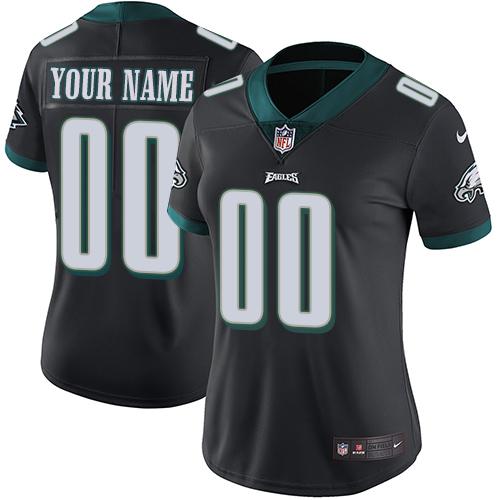 Nike Philadelphia Eagles Customized Black Alternate Stitched Vapor Untouchable Limited Women's NFL Jersey