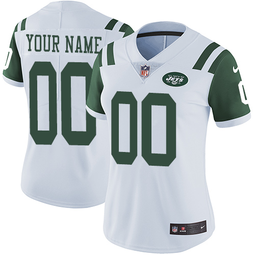 Nike New York Jets Customized White Stitched Vapor Untouchable Limited Women's NFL Jersey