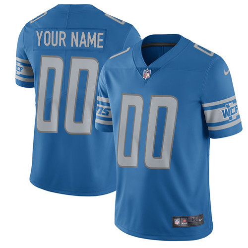 Nike Detroit Lions Customized Blue Team Color Stitched Vapor Untouchable Limited Youth NFL Jersey