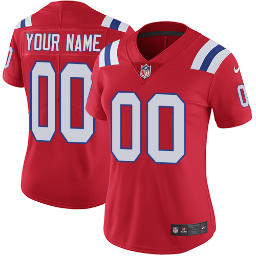 Nike New England Patriots Customized Red Alternate Stitched Vapor Untouchable Limited Women's NFL Jersey