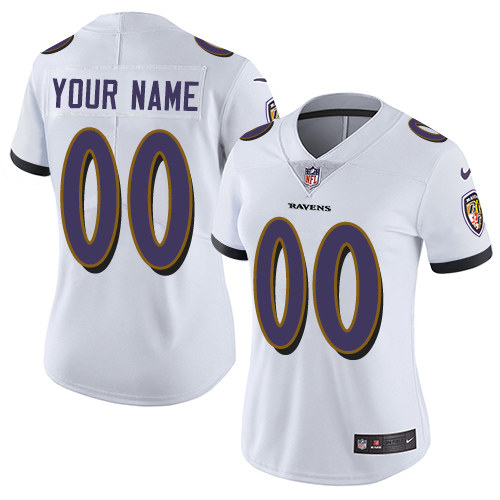 Nike Baltimore Ravens Customized White Stitched Vapor Untouchable Limited Women's NFL Jersey
