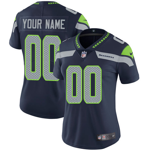 Nike Seattle Seahawks Customized Steel Blue Team Color Stitched Vapor Untouchable Limited Women's NFL Jersey