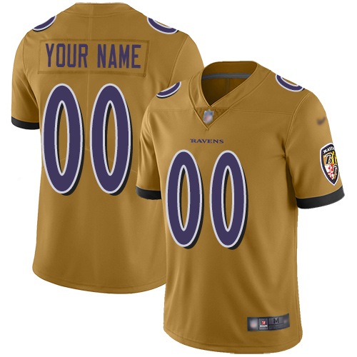 Nike Baltimore Ravens Customized Gold Men's Stitched NFL Limited Inverted Legend Jersey