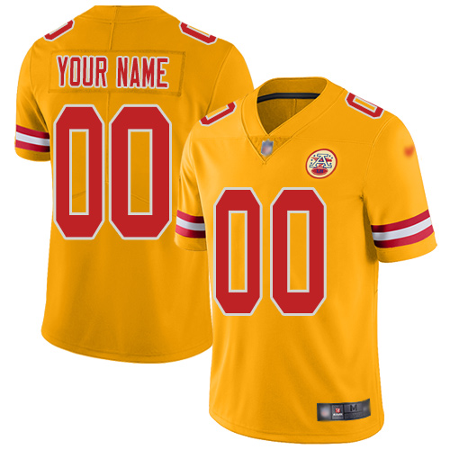 Nike Kansas City Chiefs Customized Gold Men's Stitched NFL Limited Inverted Legend Jersey